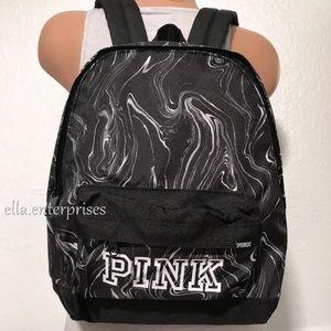 VS Pink Mini Backpack Black White Marble Bookbag